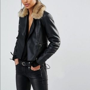 NWOT French Connection Faux Leather & Fur Jacket